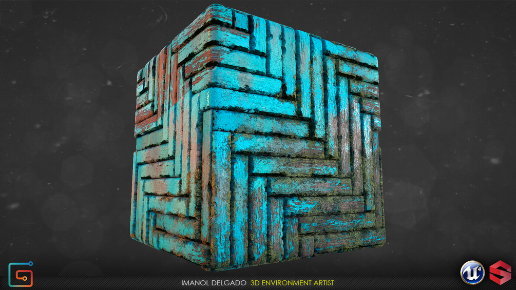 Substance Wood material + Creating height map based Vertex Color in