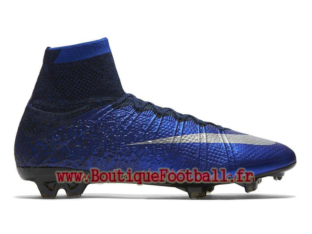 hot sale online a7cfd 45dfe Nike Mercurial Superfly FG CR7 Chaussure de football à crampons pour sol  dur pour Homme Bleu royal profond Bleu coureur Noir Argent métallique  677927-404