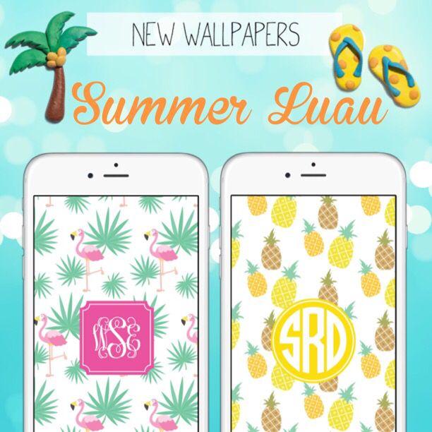 Summer Monogram Wallpapers Pineapple Flamingo