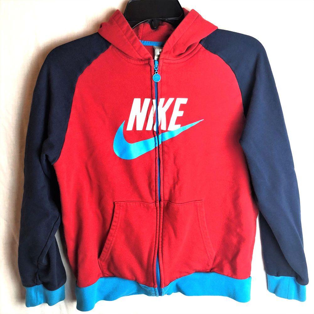 fc12be422439 Nike Girls Vintage Hoodie Full Zip Large Colorblock Red Blue Sweatshirt   Nike  Hoodie