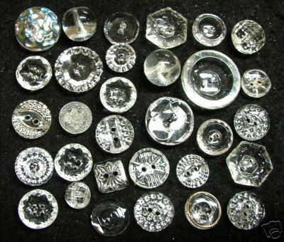 31 Clear Glass Buttons by Onestitchatatime, via Flickr