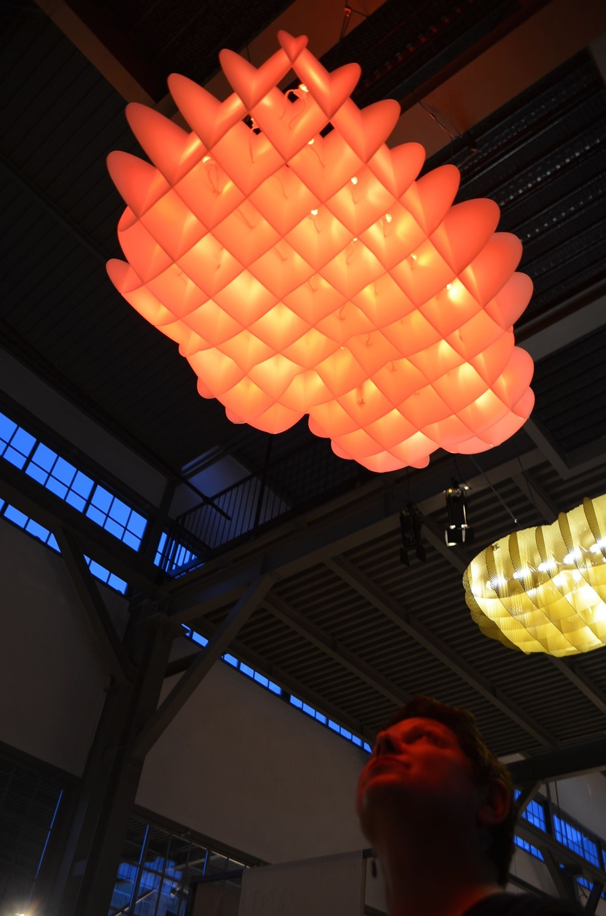 Exhibited: Milan Salone de mobile, Ventura Lambrate 2015.   Suspended pendant collection exhibited features an array of 25 individually addressable LEDs embedded into the structure. The LEDs are capable of being programmed to have interesting storm effects and coloured effects of sunrise and sunset. Each light fixture is a lightweight construction made of interlocking pieces which can be disassembled and flat packed for transportation. Individually each   Size: 1 meter x 600mm and will…