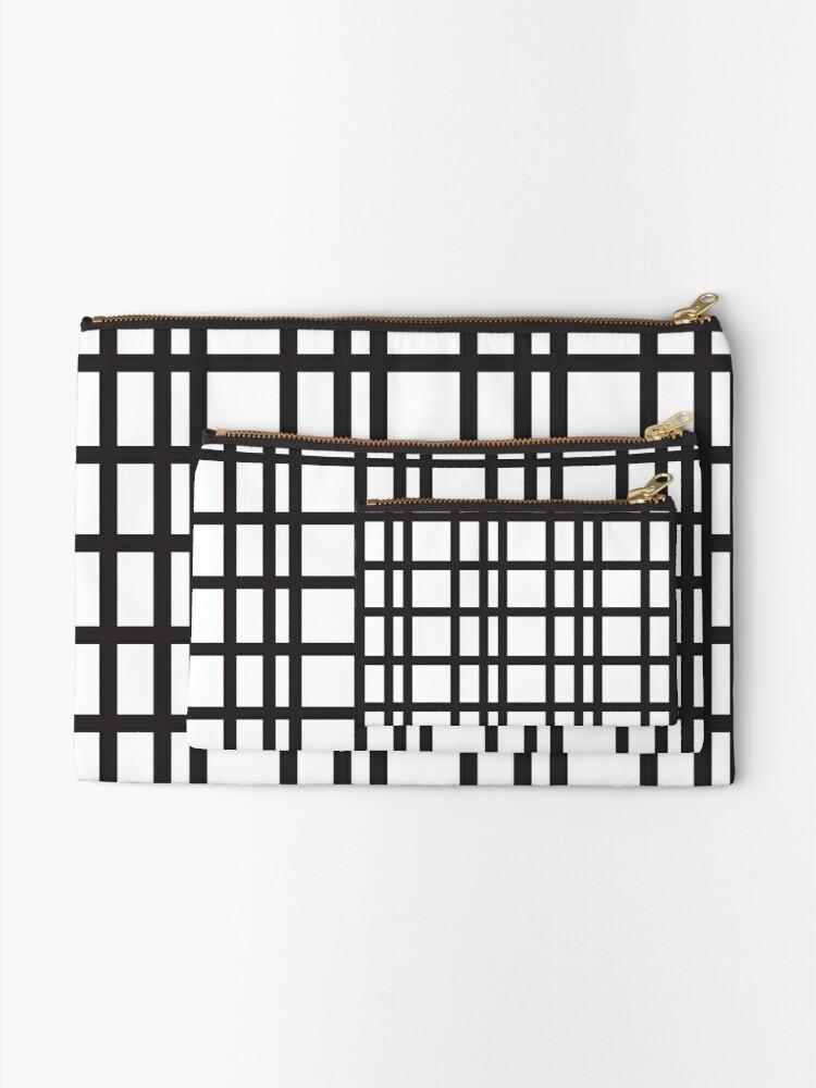 Black And White Grid Seamless Pattern Zipper Pouch By Kallyfactory Seamless Patterns Pattern Pattern S