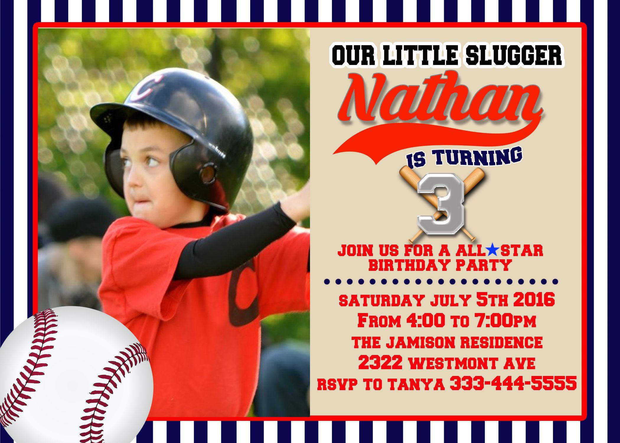 Boy Baseball Birthday invitation Slugger invite | Boy Birthday ...