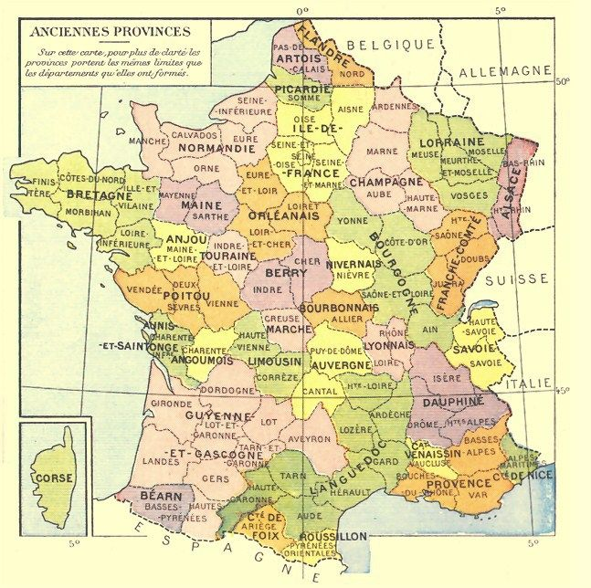 Map Of Provinces In France.Old Provinces Of France Genealogy Canada France Map Geography