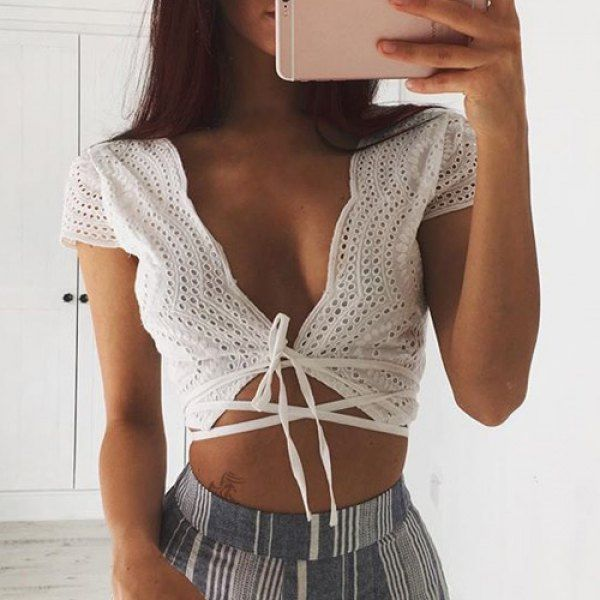 925853f104f Sexy Plunging Neck Short Sleeve White Self-Tie Crop Top For Women Outfit  Goals,