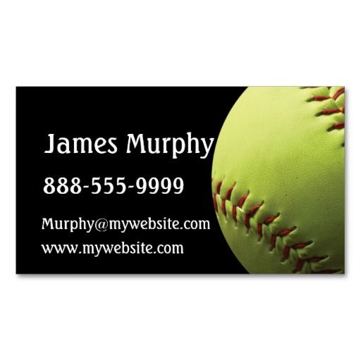 Yellow Softball Sporty Business Card Zazzle Com Spa Business Cards Printing Double Sided Business Cards