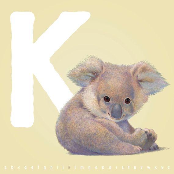 Illustrated Koala Letter K Print 12 00 Via Etsy Koala Koala Tattoo Koala Bear