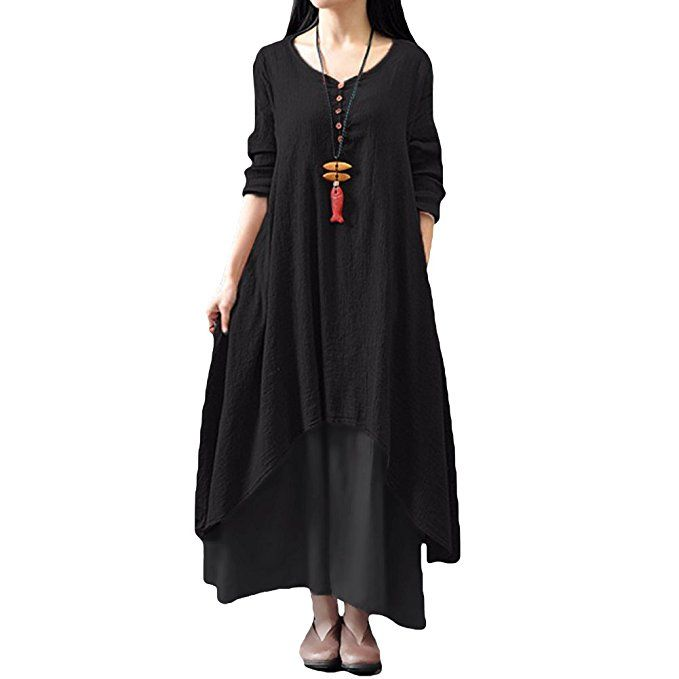 1700ebf0b6a7 Romacci Women Boho Dress Casual Irregular Maxi Dresses Layer Vintage Loose  Long Sleeve Linen Dress with
