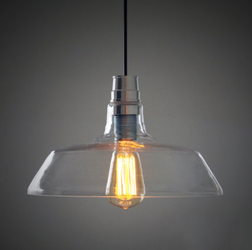 Clear Glass Shade Industrial Pendant Light
