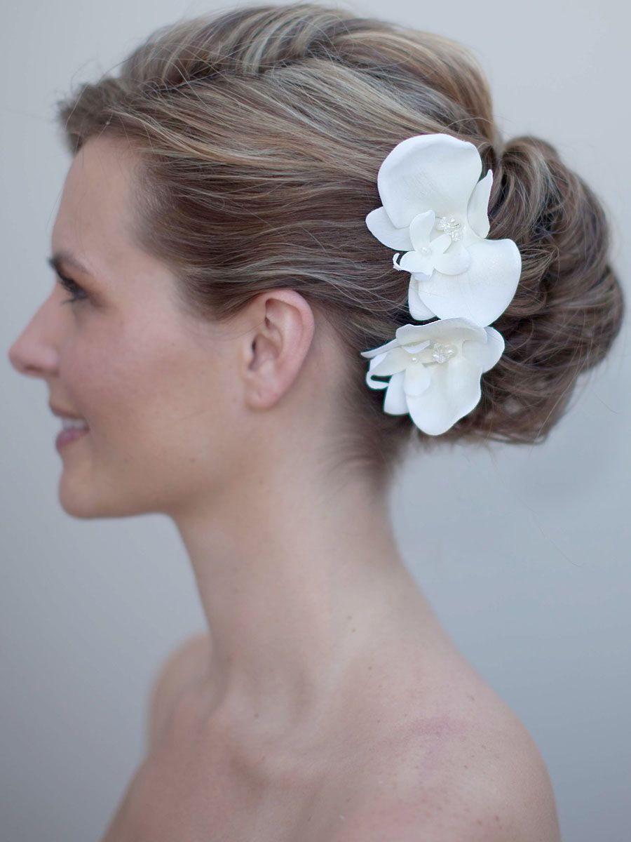 """carys"""" beaded orchid bridal hair flower in 2019   marriage"""