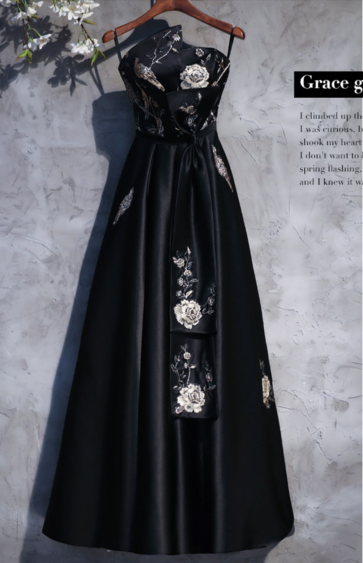 Black flower embroidery satin strapless long formal dress black