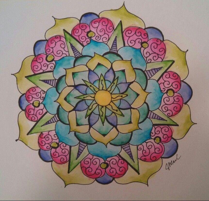 Ink and watercolor mandala