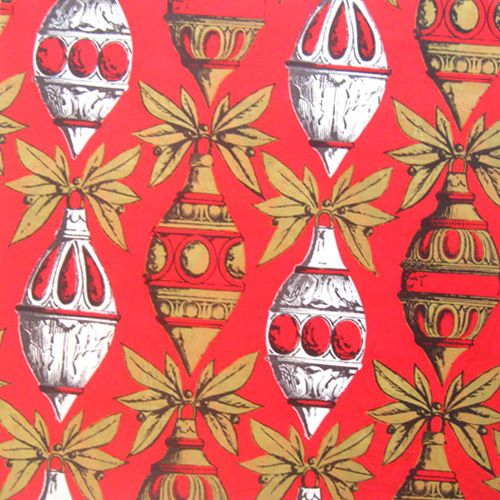 vintage christmas wrapping paper red ornaments - Vintage Christmas Wrapping Paper
