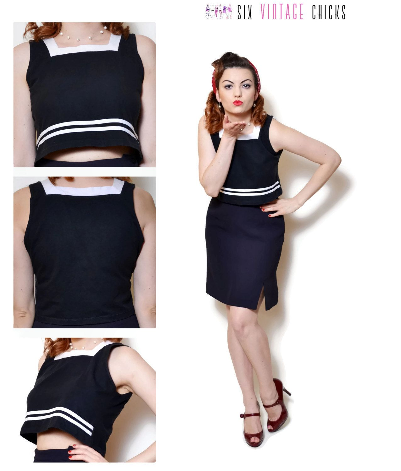 36b879c2ef crop tops for women black and white sexy tops nautical shirt pin up top  retro clothing 80s clothing womens tops sleeveless top resort wear by ...