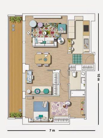 Luminosité et déco bleue dans un appartement Homesteads - plan petite maison 70 m2