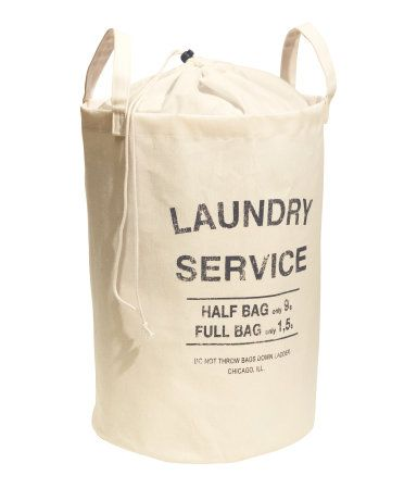 Laundry Bag In Unbleached Cotton Twill With A Printed Text Design