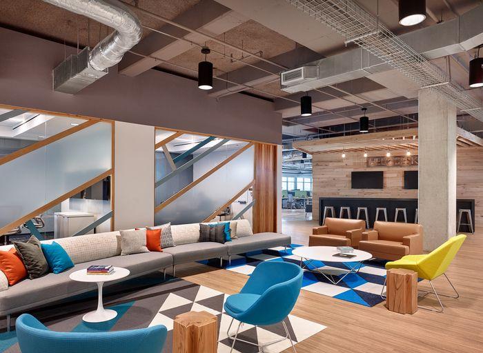 Colorful and Unique Reception area in Bazaarvoice Headquarters – Austin