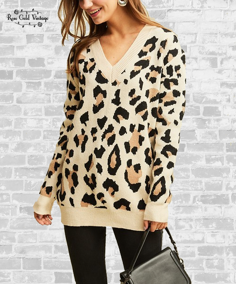 746d166dff40 Cozy V-Neck Leopard Print Sweater - Taupe in 2019 | Fall / Winter ...