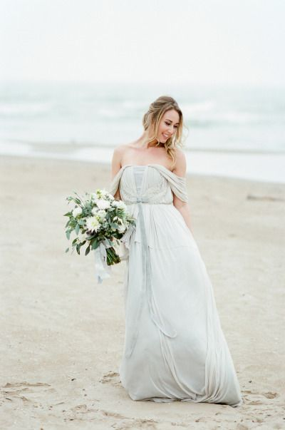 soft grey off-the-shoulder gown | Wedding | Pinterest | Gowns ...