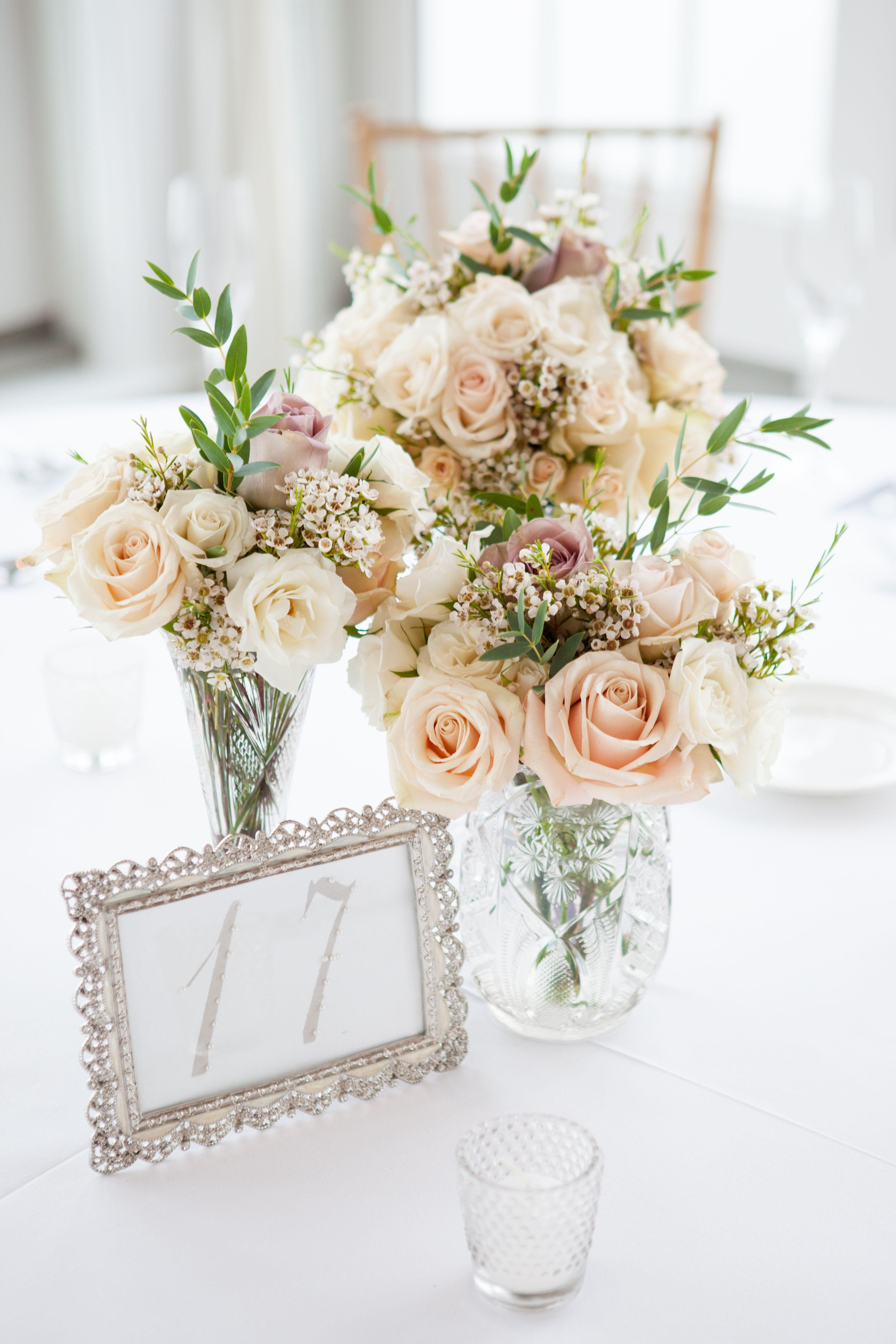 Bouquets that are used as centerpieces for the wedding reception ...