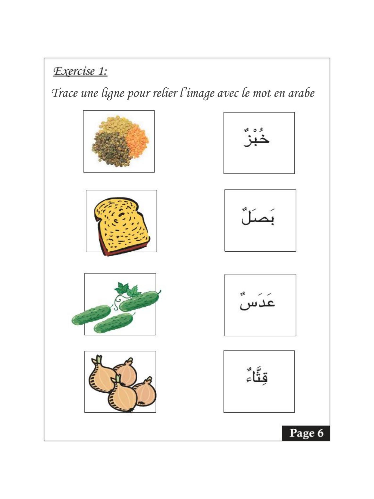 Livret Vocabulaire Les Aliments Arabe Francais