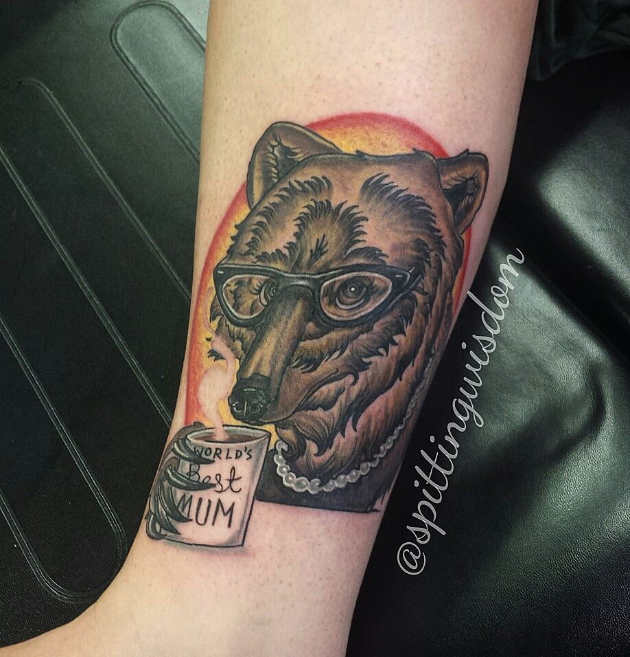 Mama bear by Leah Farrow at Timepiece Tattoo Company in Huntsville Alabama.