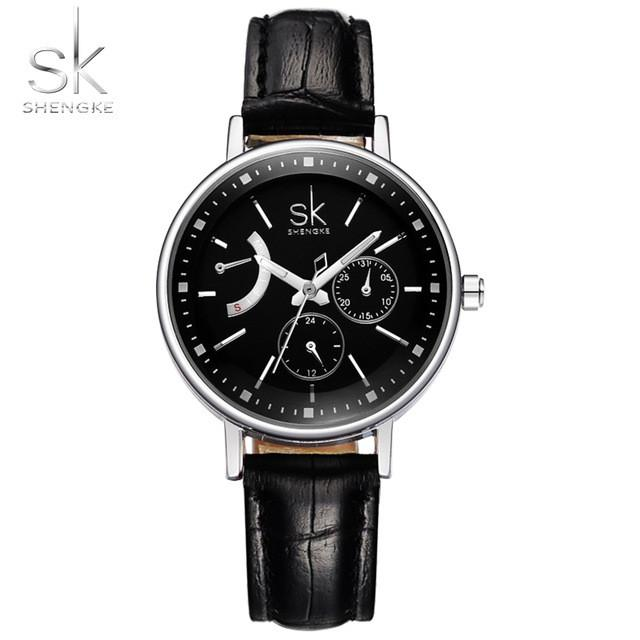 SK | Leather Ladies Watch | Large Round Croc Pattern Leather with Dials