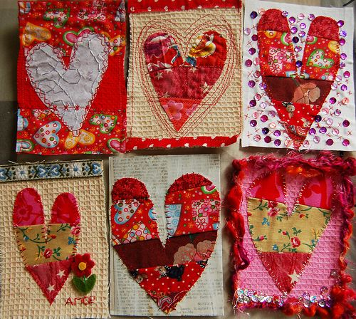 Heart fabric postcards