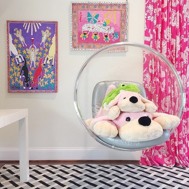 Superior Contemporary Girlu0027s Bedroom Features An Acrylic Bubble Hanging Chair Placed  In Front Of Windows Dressed In