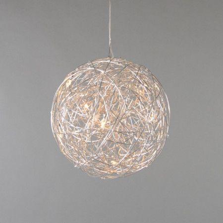 pendelleuchte draht kugel 40cm aluminium ein glanzvoller auftritt wundersch ne palettentraum. Black Bedroom Furniture Sets. Home Design Ideas