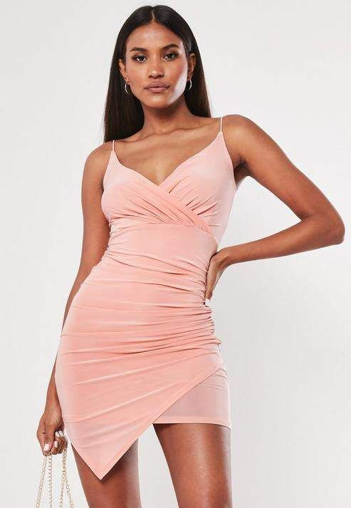 Blush Strappy Slinky Wrap Bodycon Mini Dress - Mini dress, Blush dress outfit, Shop short dresses, Fashion, Blush dresses, Womens dresses - a blush slinky strappy wrap mini dress in a bodycon fit featuring a plunge neckline and ruching on the side