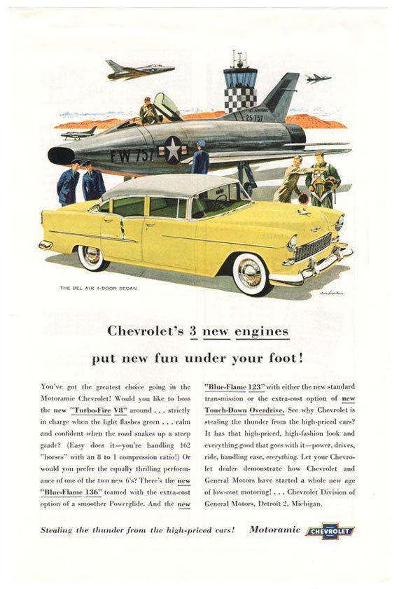 1955 Chevy Bel Air Sedan Vintage AD *Three New Engines*