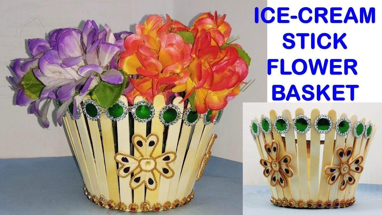 Flower basket making with popsicle stick   craft day ... on ice cream sticks lamps, ice cream sticks crafts, ice cream sticks chair,