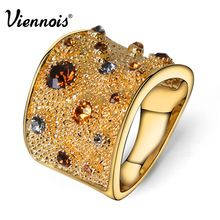 Viennois 18K Wide Gold Rhinestone Crystal Double  Cuff Cocktail Ring Size 6 7 8 For Women(China (Mainland))
