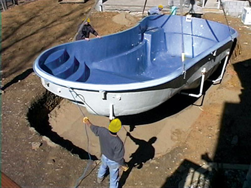 Fiberglass Pool Ideas image of fiberglass pool idea Fiberglass Pool Shell Being Lowered Into Place