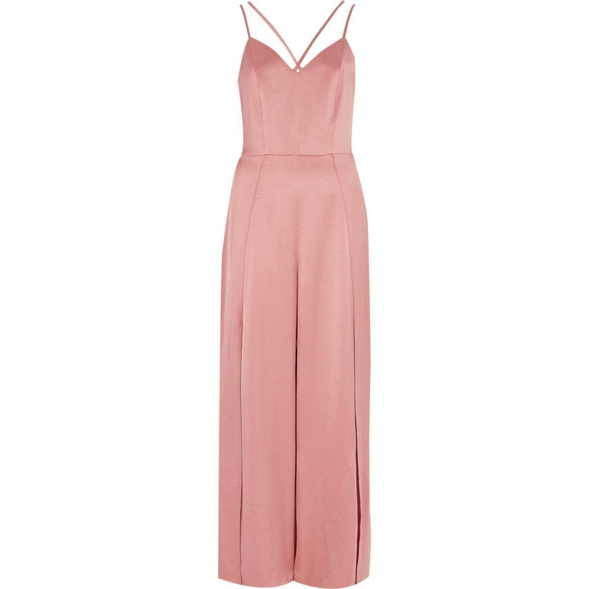9e2f8a93255 Light pink strappy cami split leg jumpsuit