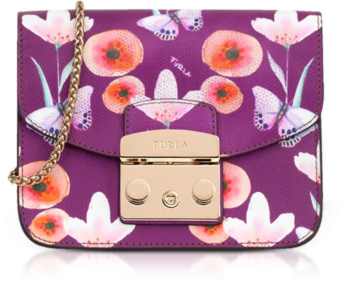 Furla Metropolis estampado cuero Butterfly bandolera Bouganville mini 1RqA1