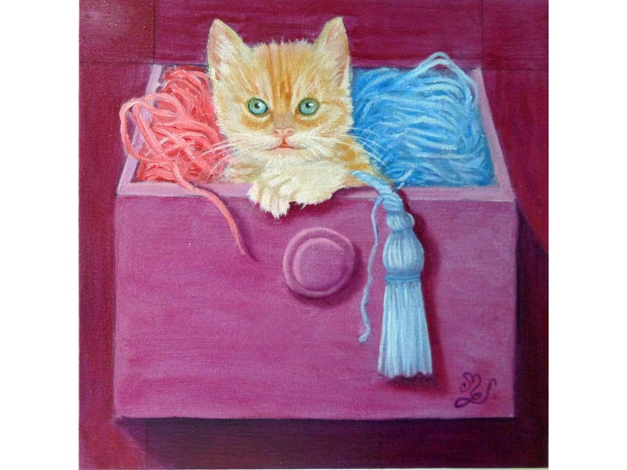 Peinture chaton dans tiroir mercerie huile sur bois trompe-l'oeil : Peintures par mgdecors
