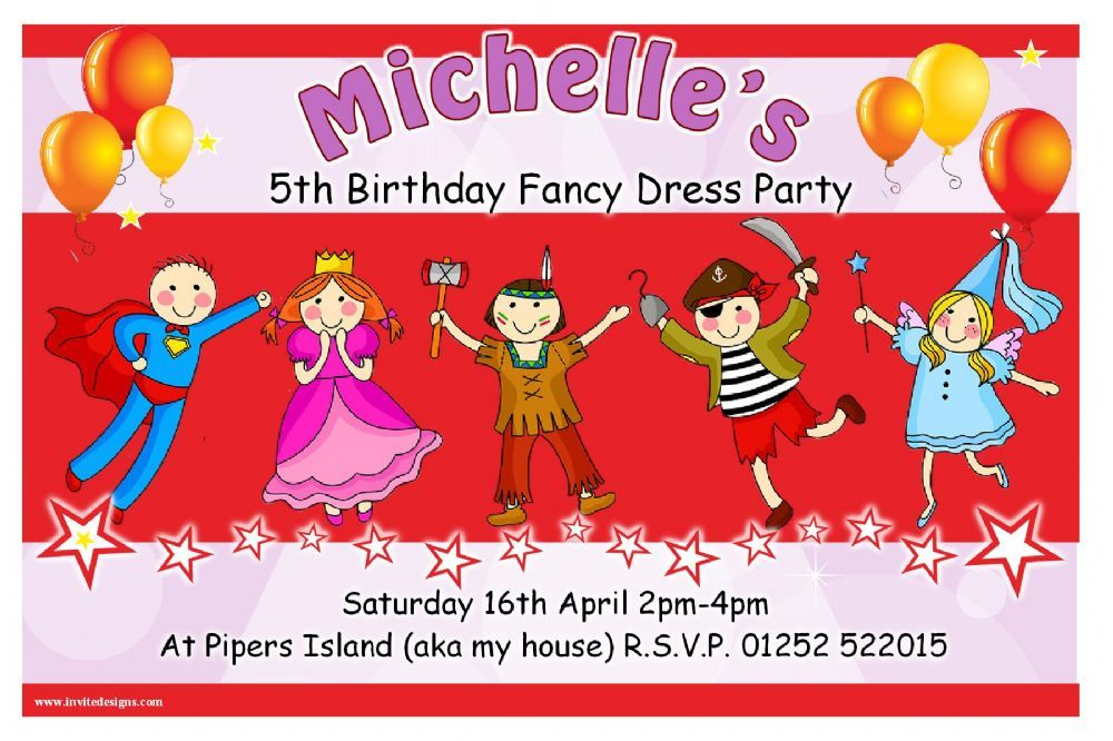 10 Personalised Fancy Dress Birthday Party Invitations Printed onto ...