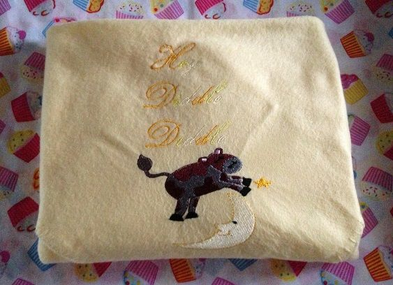 Hey diddle diddle embroidered blanket