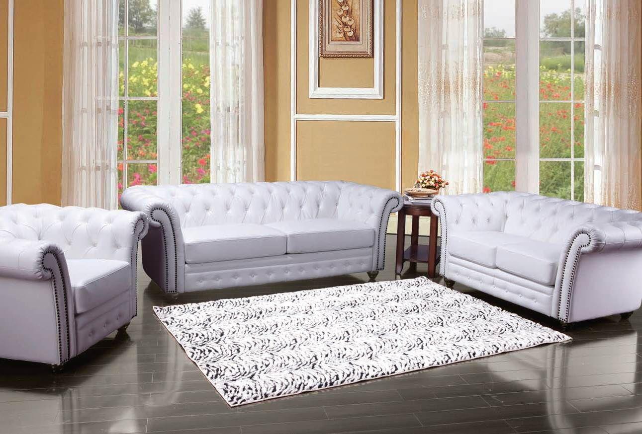 Camden Upholstery White Living Room Set 50165-Set | Living Room Sets ...