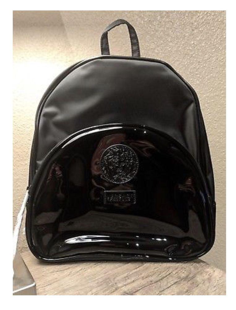 12cc202003 Versace Parfums Black BackPack Medusa Head Hand dust Bag faux patent  leather NEW