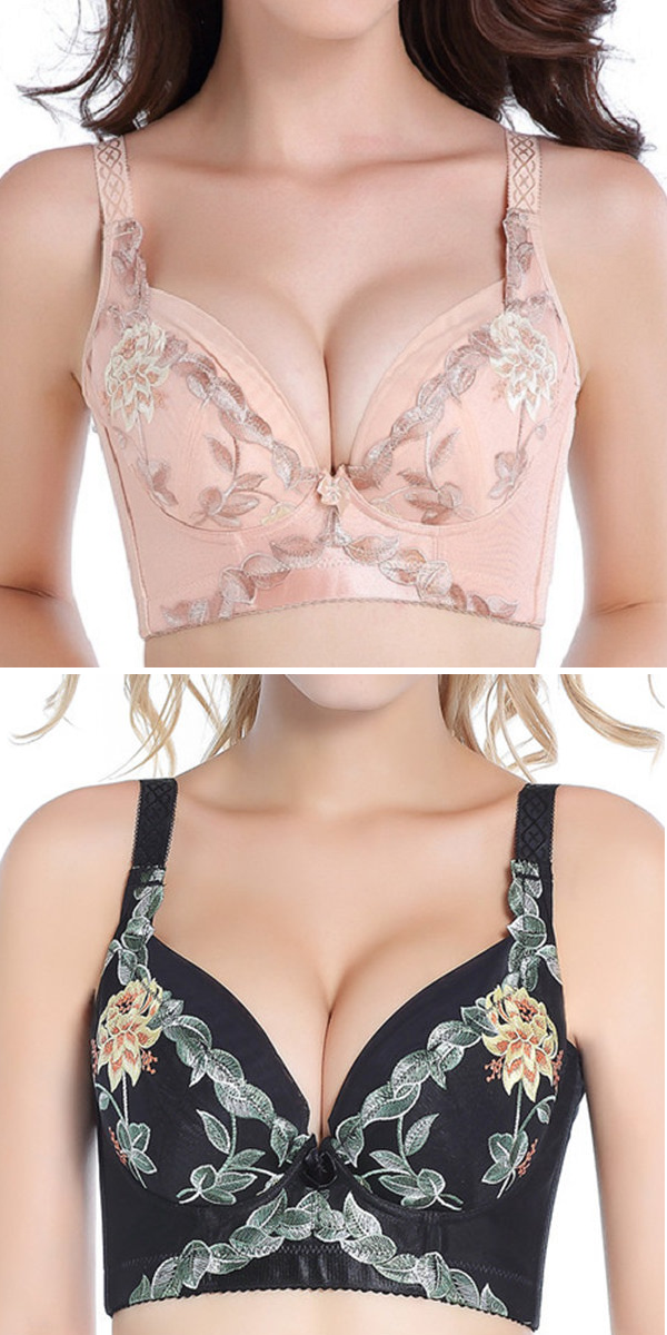 dd039d9722 Sexy Push Up Plunge Vice Breast Shaper Gather Embroidered Bras ...