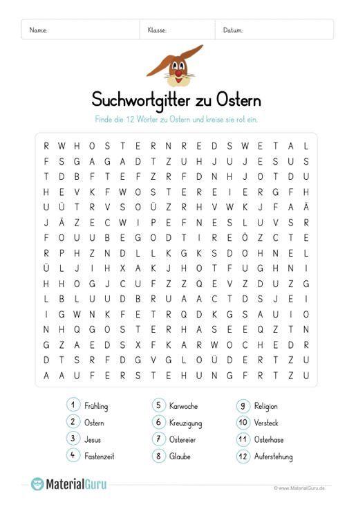 A Free Worksheet On The Topic Of Easter On Which The Children 12 Words To Mit Bildern Kostenlose Arbeitsblatter Suchsel Arbeitsblatter