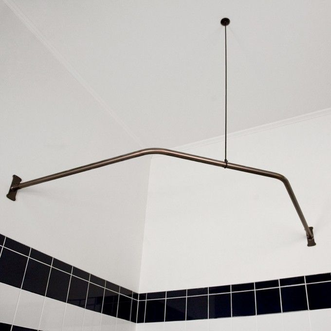 Neo Angle Shower Rod With Ceiling Support Shower Curtain Rods