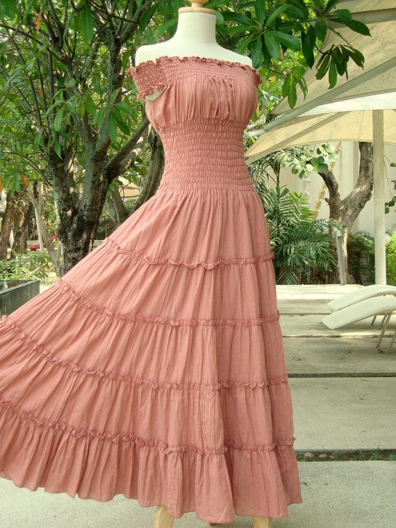 c5ee9c5ea6b Romantic Dress Peach Maxi Dress - Off The Shoulder Maxi Dress   Long Cotton  Dress   Long Beach Dress - Sweet Summer II via Etsy