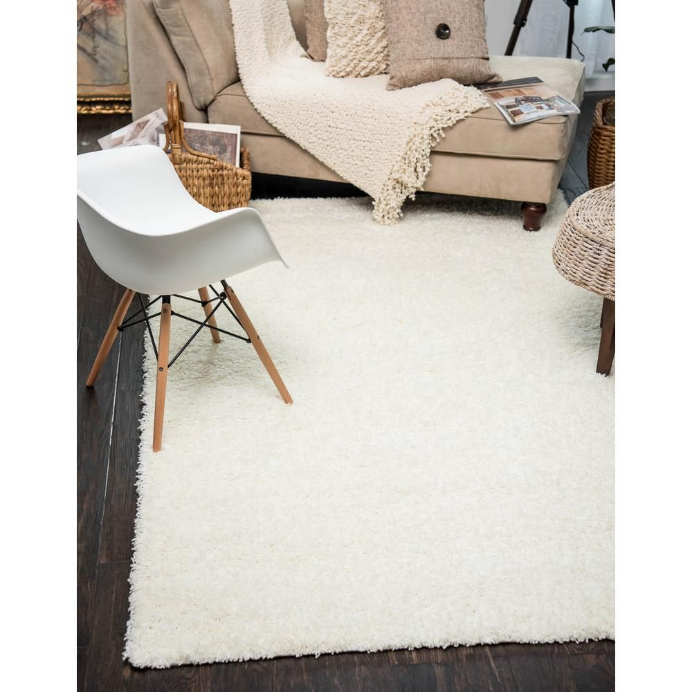 Unique Loom Solid Shag Snow White 12 Ft X 15 Ft Area Rug 3127917 The Home Depot Area Rugs Rugs Modern Bedroom Rug