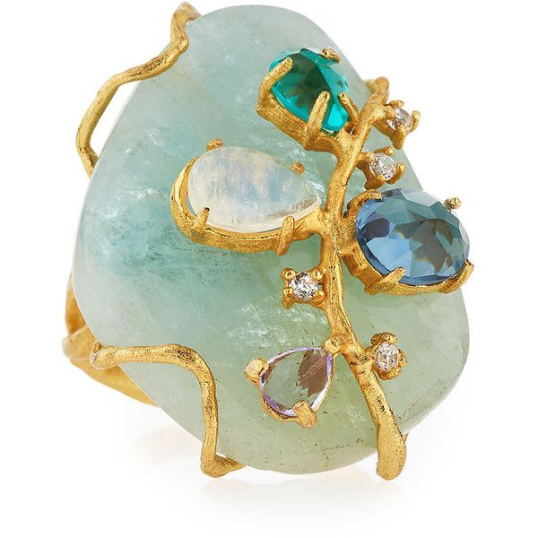 Indulgems Golden Aquamarine Gemstone Cluster Cocktail Ring ($130) ❤ liked on Polyvore featuring jewelry, rings, blue, blue ring, gem rings, cocktail ring, vine ring and aquamarine ring