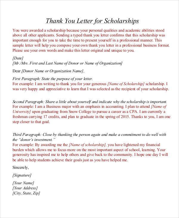 Thank You Scholarship Letter Sample Lovely Sample Thank